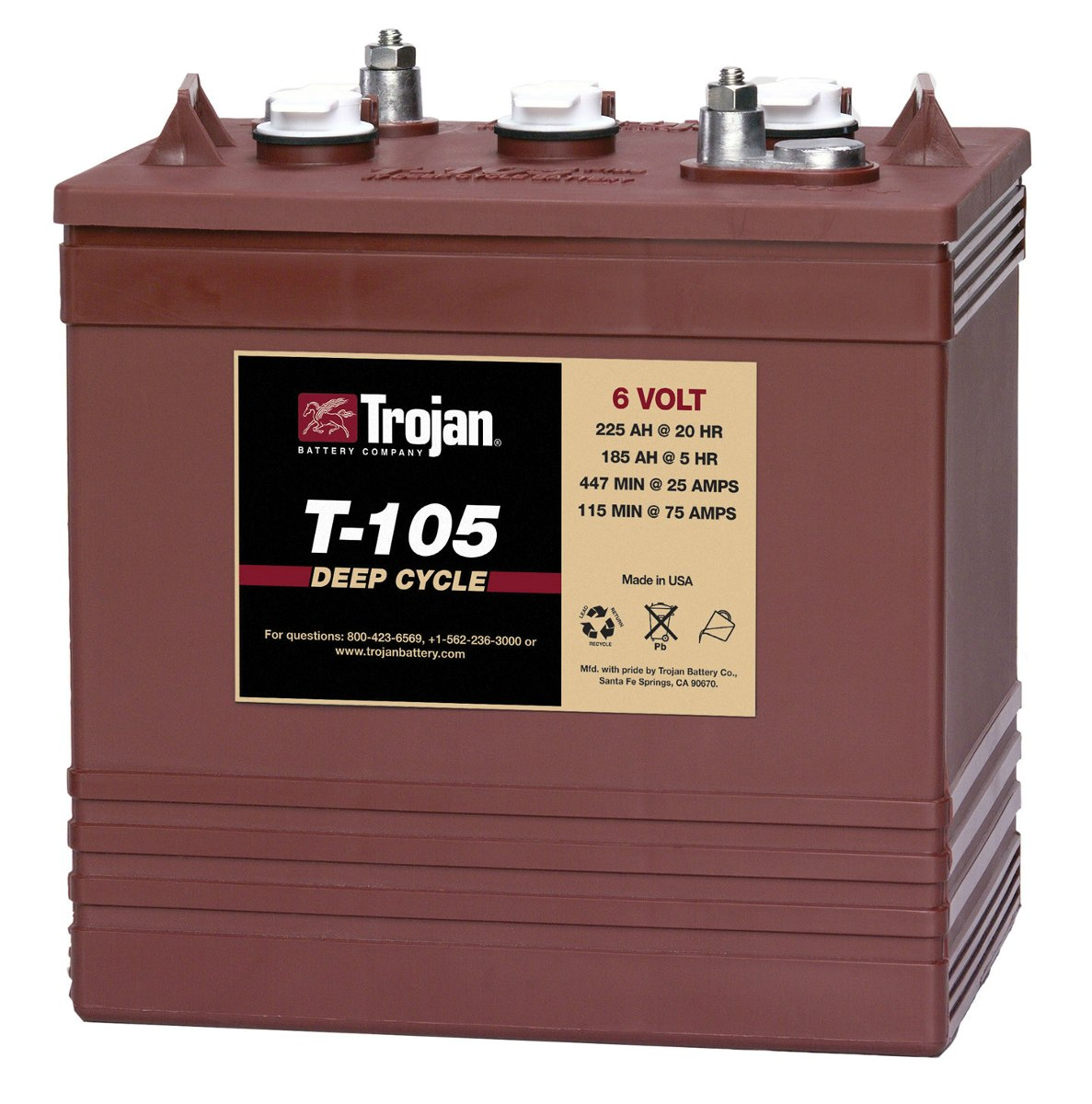 T105 Trojan 6 Volt Golf Cart Battery