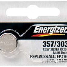 Energizer 344/350 Zero Mercury Silver Oxide Button Cell - 20: 5pc tear strips = 100 button cell batteries