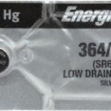 Energizer 364/363 Zero Mercury Silver Oxide Button Cell - 20: 5pc tear strips = 100 button cell batteries