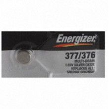 Energizer 377/376 Zero Mercury Silver Oxide Button Cell - 20: 5pc tear strips = 100 button cell batteries