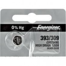 Energizer393/309 Zero Mercury Silver Oxide Button Cell - 20: 5pc tear strips = 100 button cell batteries