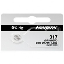 Energizer 317 Zero Mercury Silver Oxide Button Cell - 20: 5pc tear strips = 100 button cell batteries