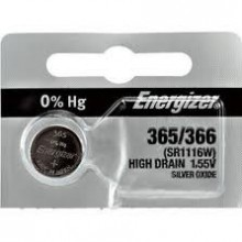 Energizer 365/366 Zero Mercury Silver Oxide Button Cell - 20: 5pc tear strips = 100 button cell batteries