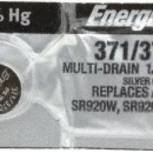 Energizer 371/370 Zero Mercury Silver Oxide Button Cell - 20: 5pc tear strips = 100 button cell batteries