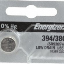 Energizer 394/380 Zero Mercury Silver Oxide Button Cell - 20: 5pc tear strips = 100 button cell batteries
