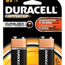CopperTop 9V Alkaline Battery - 48: 9V 2pks = 96 batteries